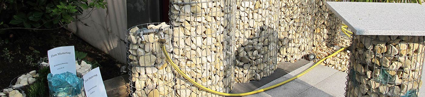 Selection of gabion baskets in different sizes