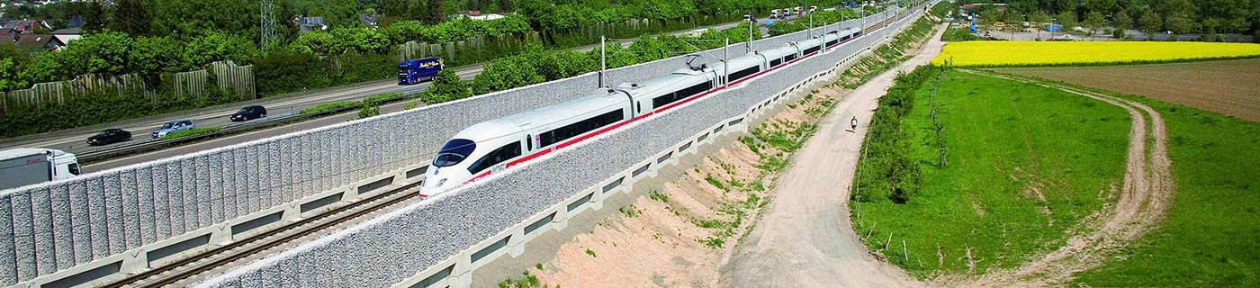 Gabion noise barrier at railway