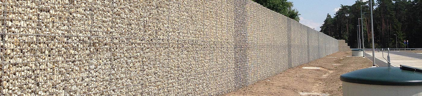 Noise protection wall on a highway from gabions